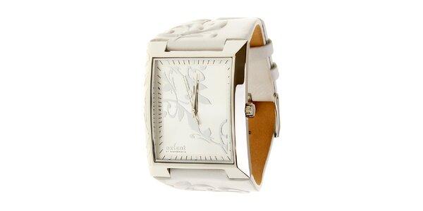 Dámske oceľové hodinky Axcent s bielym koženým remienkom a ornamentem