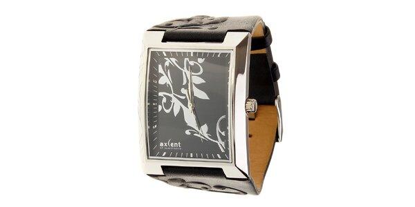 Dámske oceľové hodinky Axcent s čiernym koženým remienkom a ornamentem