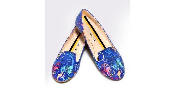 Dámske modré loafers s mierovými znakmi The Bees