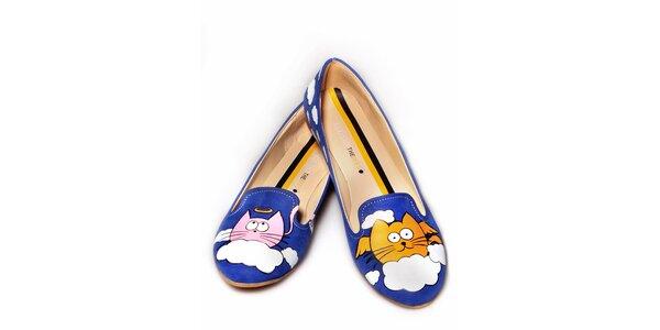 Dámske modré loafers s veselou potlačou The Bees