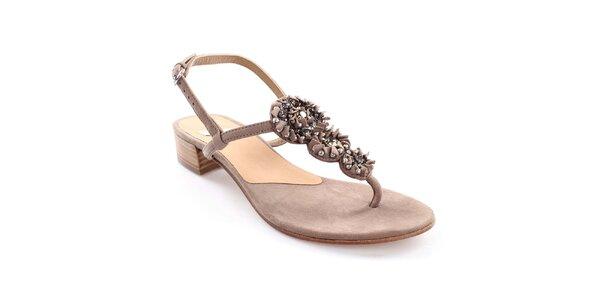 Dámske kožené sandále s ozdobou Coral Blue
