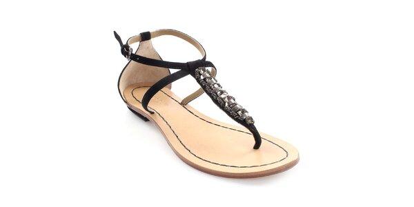 Dámske kožené čierne sandále s dekoráciou Coral Blue