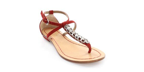 Dámske kožené červené sandále s dekoráciou Coral Blue