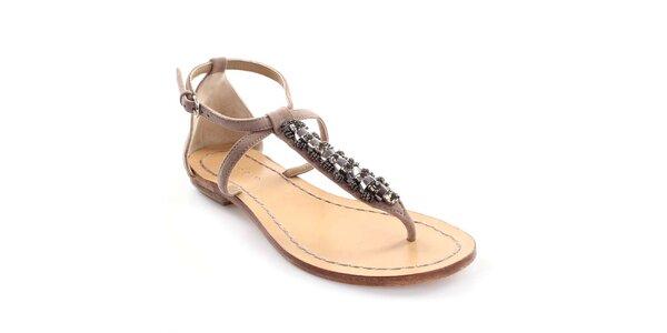 Dámske kožené sandále s dekoráciou Coral Blue