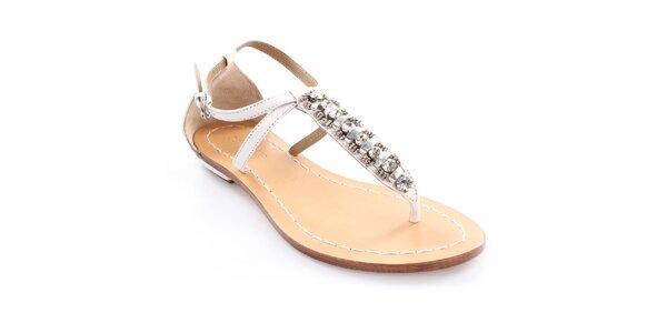Dámske kožené biele sandále s dekoráciou Coral Blue