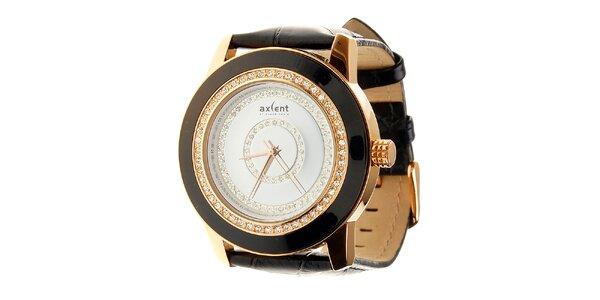 Dámske čierno-zlaté náramkové hodinky Axent s koženým remienkom a kamienkami