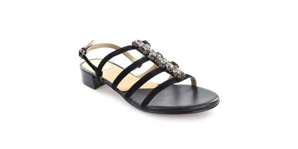 Dámske čierne remienkové sandále z kože Coral Blue
