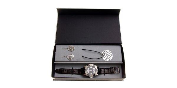 Dámska darčeková sada Axcent - čierno-strieborné hodinky a náhrdelník s…