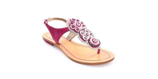 Dámske fuchsiové kožené sandále Coral Blue