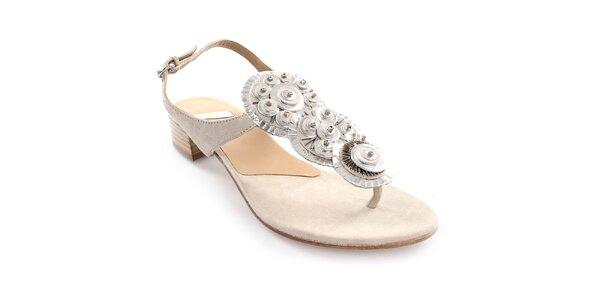 Dámske béžové kožené sandále s dekoráciou Coral Blue