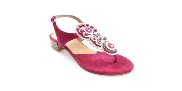 Dámske fuchsiové kožené sandále s dekoráciou Coral Blue