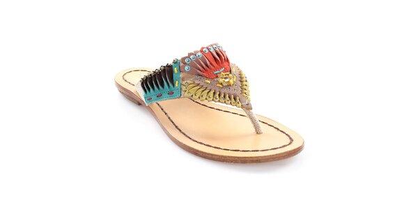 Dámske kožené žabky s farebnou indiánskou dekoráciou Coral Blue