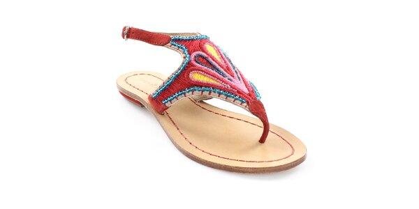 Dámske červené sandále s farebným vzorom Coral Blue