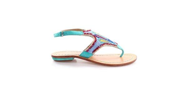 Dámske tyrkysové sandále s farebným vzorom Coral Blue