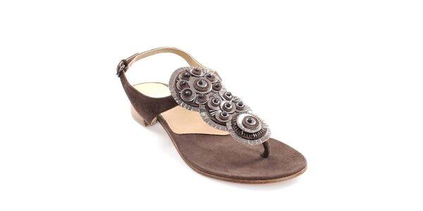 Dámske tmavo hnedé kožené sandále s dekoráciou Coral Blue