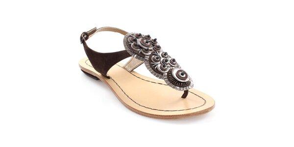 Dámske tmavo hnedé kožené sandále Coral Blue