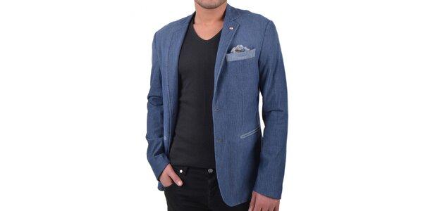 Pánske modré sako s ozdobným vreckom a gombíkom RNT23