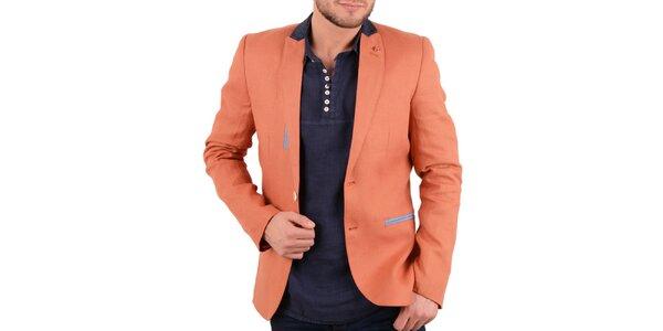 Pánske oranžové ľanové sako s farebnými detailmi RNT23