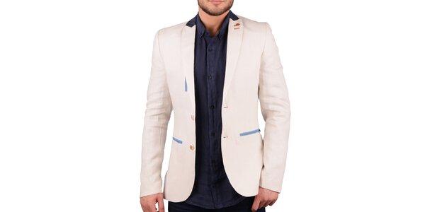 Pánske krémovo biele ľanové sako s farebnými detailmi RNT23