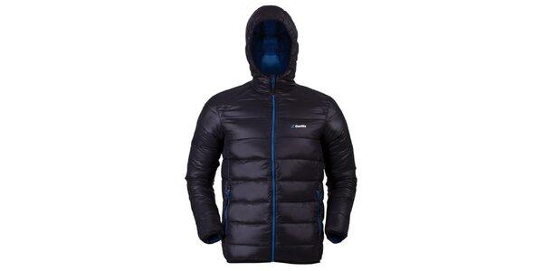 Pánska čierna prešívaná bunda s modrými zipsami Goritz