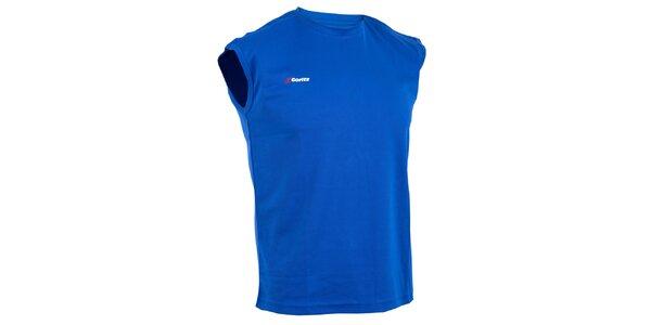 Pánske modré technické tričko bez rukávov Goritz
