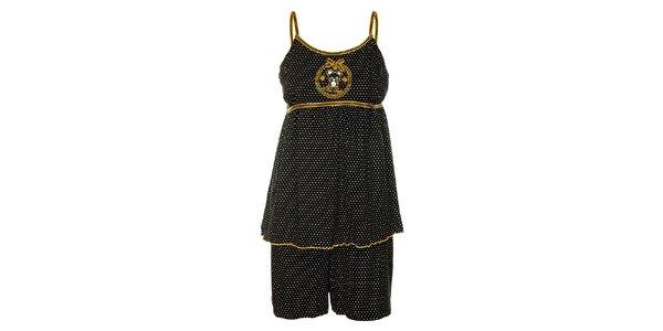 Dámske čierne bodkované pyžamo Admas - šortky a tielko