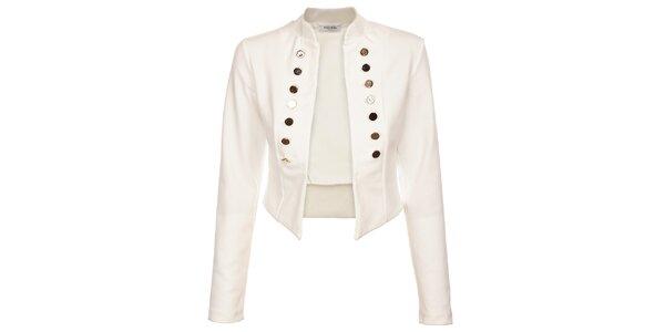 Dámsky biely kabátik Holly Kate s kovovými gombíkmi