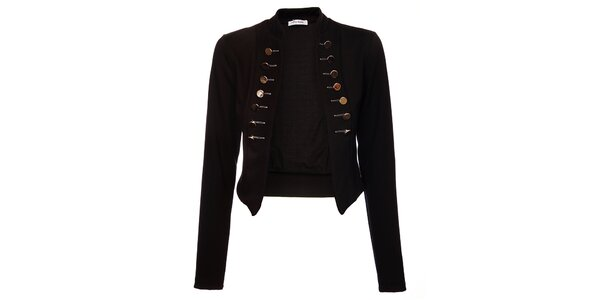 Dámsky čierny kabátik Holly Kate s kovovými gombíkmi