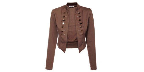 Dámsky hnedý kabátik Holly Kate s kovovými gombíkmi