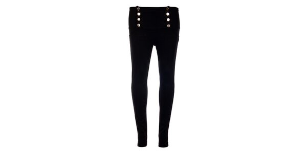 Dámske čierne nohavice Holly Kate s kovovými gombíkmi
