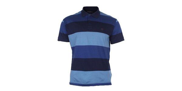 Pánske modré polo tričko s pruhmi Pietro Filipi