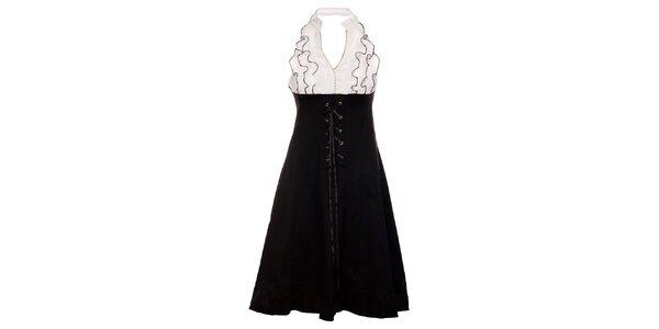 Dámske čierno-biele šaty Holly Kate s volánmi a šnurovaním
