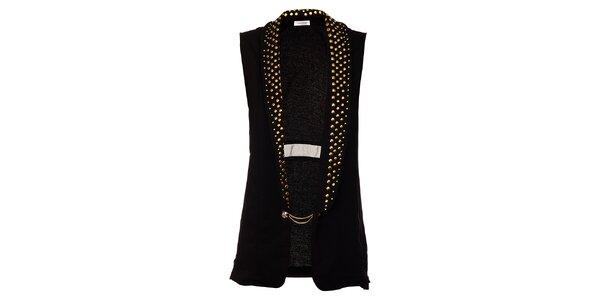 Dámska dlhá čierna vesta Holly Kate so zlatými cvokmi