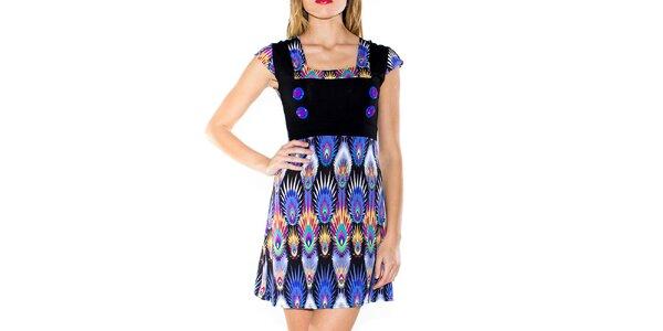 Dámske šaty s potlačou a gombíkmi Purple Jam