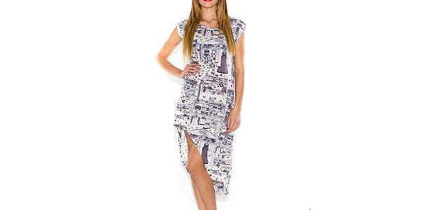 Dámske biele šaty s potlačou a asymetrickou sukňou Purple Jam