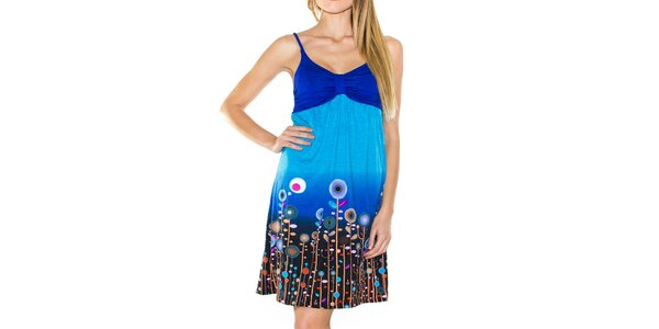 Dámske modré šaty na ramienka Purple Jam
