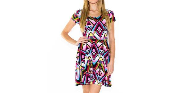 Dámske farebné šaty s geometrickým vzorom Purple Jam