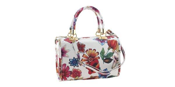 Dámska menšia biela kvetinová kabelka Classe Regina