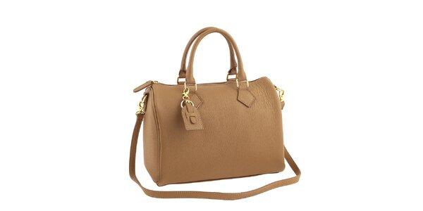 Dámska béžová kožená kabelka s popruhom Classe Regina