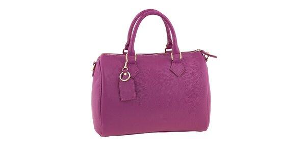 Dámska fuchsiová kožená kabelka s popruhom Classe Regina
