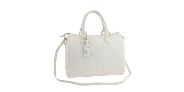 Dámska biela kožená kabelka s popruhom Classe Regina