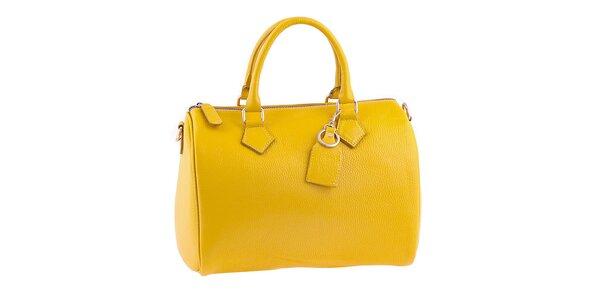 Dámska žiarivo žltá kožená kabelka s popruhom Classe Regina
