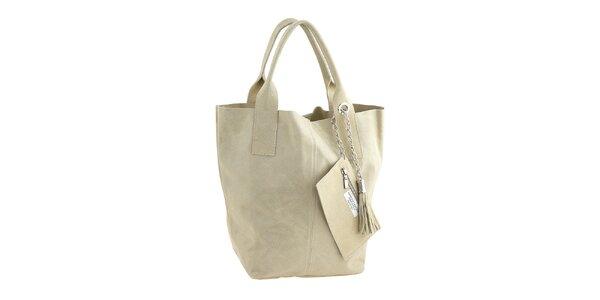 Dámska smotanová kožená nákupná kabelka so strapcami Classe Regina