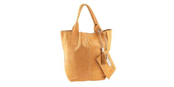 Dámska medovo hnedá kožená nákupná kabelka so strapcami Classe Regina