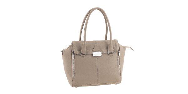 Dámska šedobéžová kožená kabelka so zipsami Classe Regina