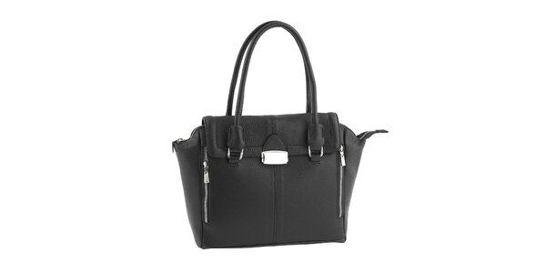 Dámska čierna kožená kabelka so zipsami Classe Regina