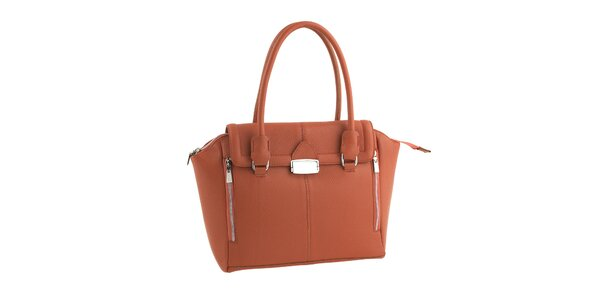 Dámska tehlovo červená kožená kabelka so zipsami Classe Regina
