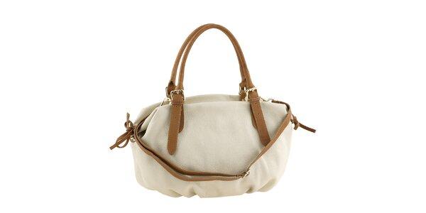 Dámska biela kožená kabelka s hnedými ušami a šnúrkami Classe Regina