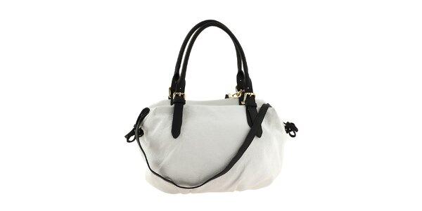 Dámska biela kožená kabelka s čiernymi ušami a šnúrkami Classe Regina