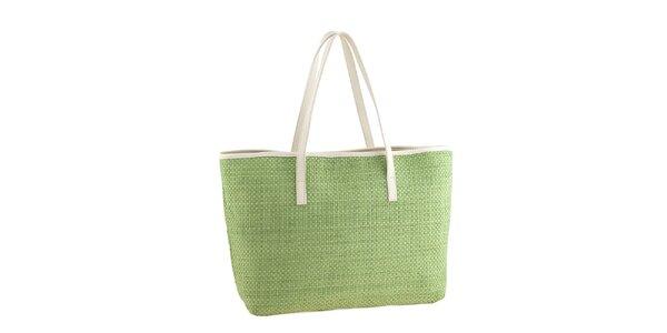 Dámska zelená slamená kabelka s koženými detailmi Classe Regina